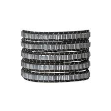 black leather wrap bracelet images Silver and black leather wrap bracelet with charm kathryn king jpg