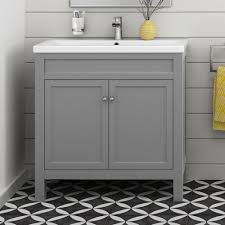 traditional bathroom furniture storage vanity unit sink basin grey