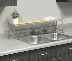 amazon com whitmor supreme sink shelf wood u0026 chrome home u0026 kitchen