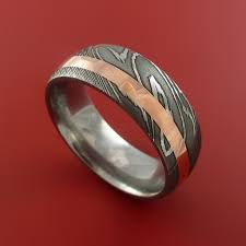 copper engagement ring damascus steel and copper ring wedding band custom made