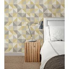 nuwallpaper jigsaw yellow and grey peel and stick wallpaper nu2098