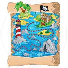 cartoon treasure map theme image by clairev toon vectors eps 44260