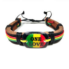 leather wrist bracelet images One love rasta leather wrist cuff wrist bracelet hippie bob reggae jpg