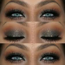 elegant glitter smokey eye makeup that makes her blue eyes pop stunning