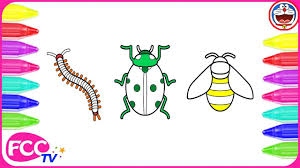 how to color u0026 learn to draw insect bee ladybug coloring pages
