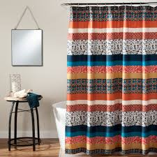 Sears Bathroom Window Curtains by Lush Decor Boho Stripe Shower Curtain Turquoise Tangerine