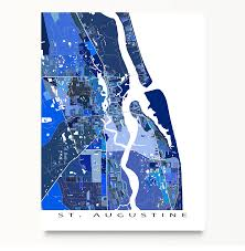 Map Of St Augustine Florida by St Augustine Map Print St Augustine Florida City Art Decor