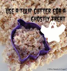 ghost shaped halloween rice krispie treats