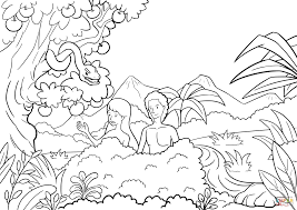 adam and eve tempted by the serpent coloring page free printable