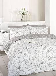 Taupe Duvet Toile Birds Flowers Duvet Cover Quilt Bedding Set Taupe Single