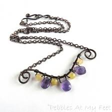 necklace with purple stone images Copper wire wrap necklace with amethyst and opal gemstones jpg