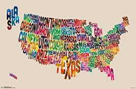 map of us states poster united states map usa made out of text words poster