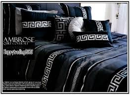 greek key black charcoal silver 3pc queen quilt doona cover 2