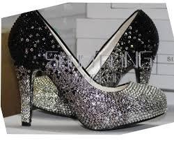 wedding shoes chagne shumbling gradual color change silver grey black rhinestone ultra
