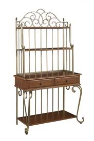 Corner Bakers Rack With Storage Ideas Antique Interior Storage Design Ideas With Bakers Rack