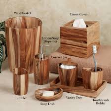 acacia handcrafted wood bath accessories wood bathroom