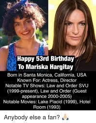 Law And Order Meme - happy 53rd birthday to mariska hargitay born in santa monica