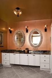 copper metallic walls with rich gold metallic ceiling master bath