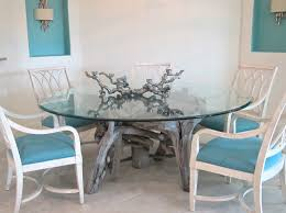 Glass Top Dining Tables With Wood Base Glass Top Tables Driftwood Decor