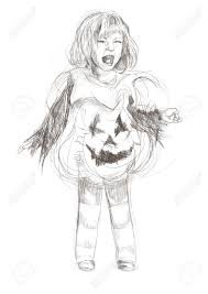 hand drawing of child in a haunted halloween pumpkin costume