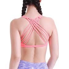 light pink sports bra queenieke women yoga sport bra padded light support back criss cross