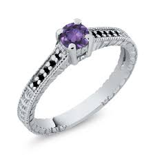 compare prices on amethyst engagement 0 32 ct round purple amethyst black diamond 925 sterling silver