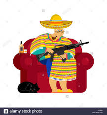 cartoon tequila mexican grandmother with gun old woman from mexico on chair and