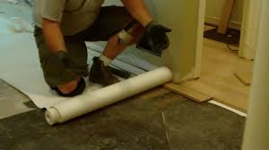 Install Laminate Flooring Over Concrete Leveling Subfloor Before Wood Floor Installation Using Asphalt