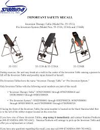 stamina products inversion table stamina products fitness equipment 55 1536b user guide