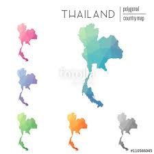 thailand vector map set of vector polygonal thailand maps bright gradient map of