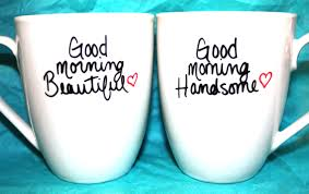 valentines day good morning beautiful handsome set of 2 mugs