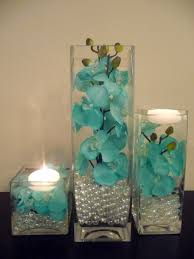 teal turquoise hand painted orchids in 3 pc vase and floating