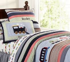 Pottery Barn Kids Twin Quilt New Pottery Barn Kids Ryder Train Quilted Bedding Twin Quilt