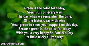 happy green color green is the color poem for st patrick s day