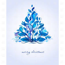 blue christmas abstract blue christmas tree made of leafage vector clipart image