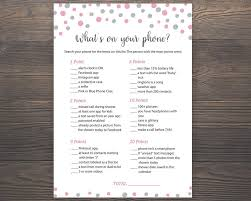 pink silver baby shower games whats on your phone printable