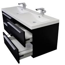 Double Sinks 57 Inch Modern Double Sink Vanity Set With Wavy Sinks Black Tn