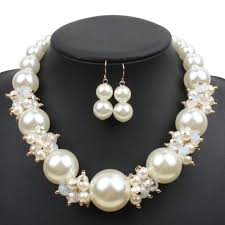 big necklace sets images Big pearl crystal wedding set jewelry set fashion pearl jewelry jpg