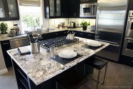 Black  Sx Island Seating White Granite Countertop - Black granite with white cabinets in bathroom