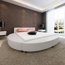 canapé lit rond lit rond design en simili cuir blanc around