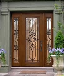 exterior brown wooden fiberglass entry doors with side lights