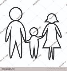 imagen blanco y negro en illustrator feliz blanco y negro línea de familia padre madre e hijo padre y