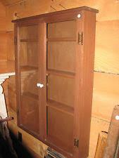 Oak Glazed Display Cabinet Hanging Wall Cabinet Ebay