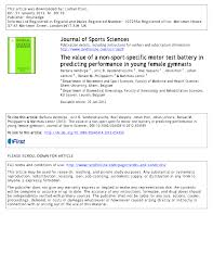 the value of a non sport specific motor test battery in predicting
