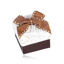 gift boxes with bow brown and white jewellery gift box heart contours quilted bow