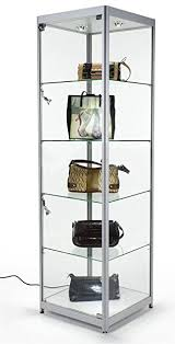 Glass Shelves Kitchen Cabinets Amazon Com Tempered Glass Curio Cabinet With 6 Halogen Lights