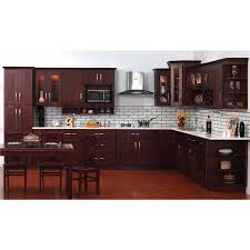 Brown Cabinet Kitchen Shaker Style Dark Kitchen With Subway Tile Kitchen Pinterest