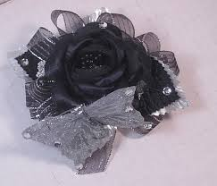 Black And White Corsage Prom Silk Flower Wristlet Wedding Silk Flower Wristlet Silk