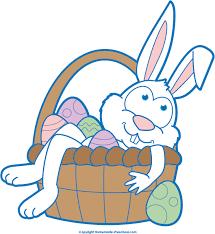 easter bunny baskets easter bunny in basket clipart image 11954