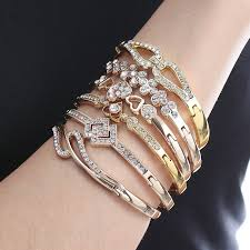 silver bracelet styles images 12 styles women girls bracelets rose gold silver hollow inlay jpg